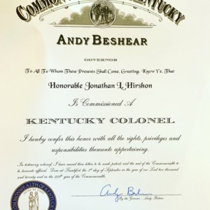 Kentucky Colonel Patent!