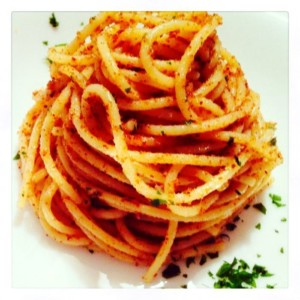The Hirshon Calabrian Linguine alla Mollica – Linguine with Anchovies, Capers, Olives and Breadcrumbs