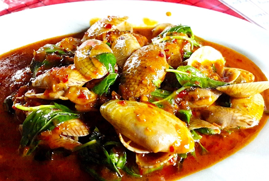 The Hirshon Thai Spicy Clams With Basil and Roasted Chili Sauce - หอยลายผัดพริกเผา