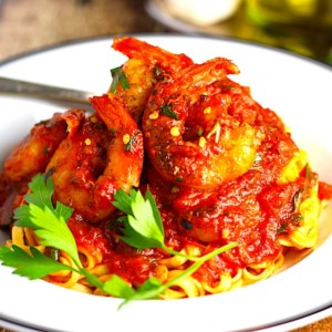 The Hirshon Shrimp Fra Diavolo with Spaghetti