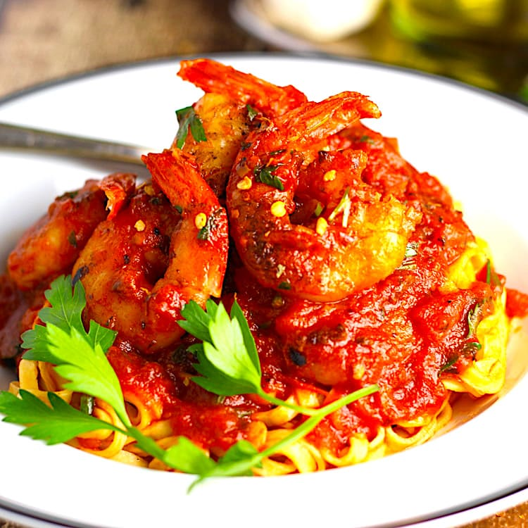 The Hirshon Shrimp Fra Diavolo with Spaghetti