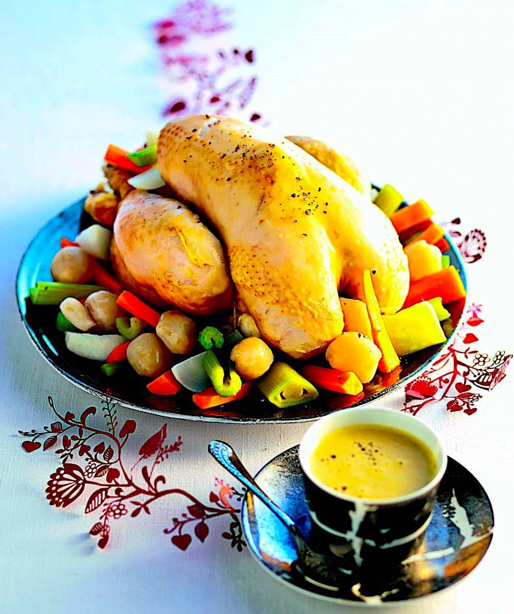 The Hirshon French Imperial Stuffed Chicken With Vegetables and Sauce Gribiche – Poule au Pot