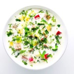 The Hirshon Russian Cold Kefir Soup With Ham, Herbs and Vegetables - Окрошка