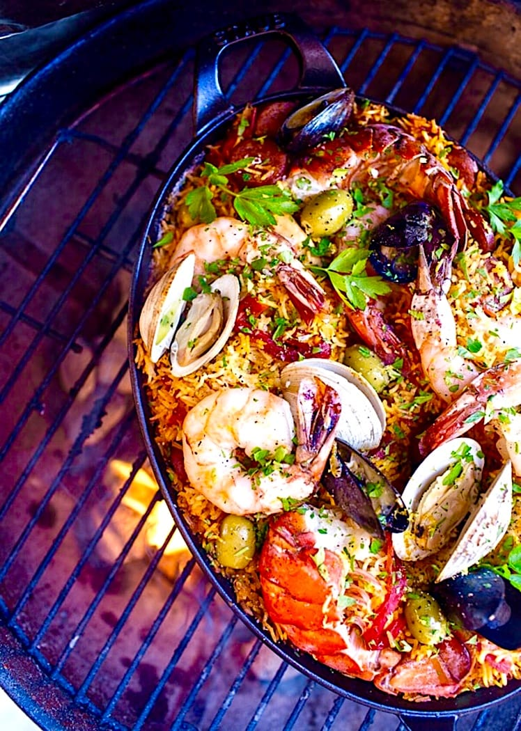 The Hirshon Spanish Seafood Paella Grilled Over An Open Fire - Paella de Mariscos