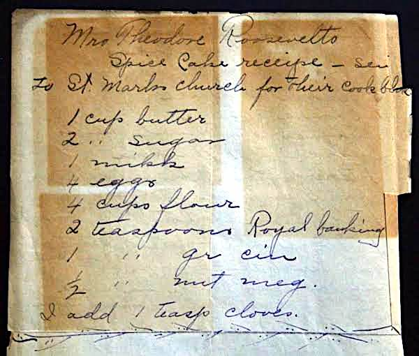 Mrs. Roosevelt Spice Cake Recipe