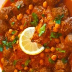 The Hirshon Algerian Garlic Meatballs in Spicy Red Garlic Sauce - مثوم مع صلصة الثوم الأحمر