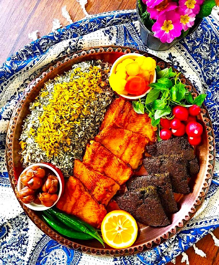 The Hirshon Iranian Sabzi Polo Ba Mahi Herbed Rice With Fried Fish – سبزی پلو با ماهی
