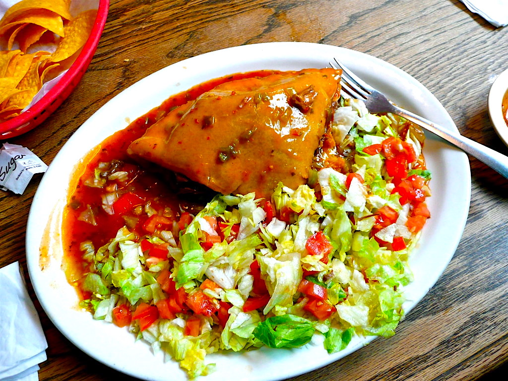 The Hirshon New Mexican Stuffed Sopapillas with Carne Adovada and Red Chile Sauce